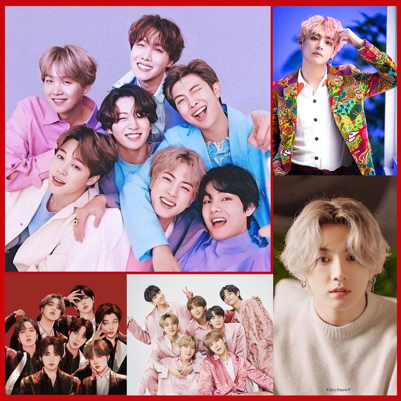 (20 MẪU) Tranh đính đá BTS tự làm, quà lưu niệm postcard poster BTS Blackpink
