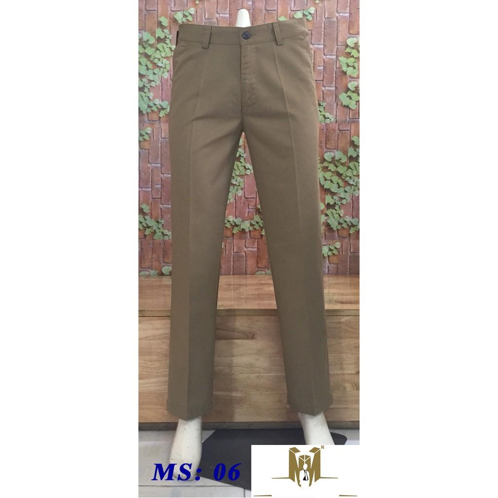 quần kaki trung niên ống rộng ms qk06 màu nâu nhạt