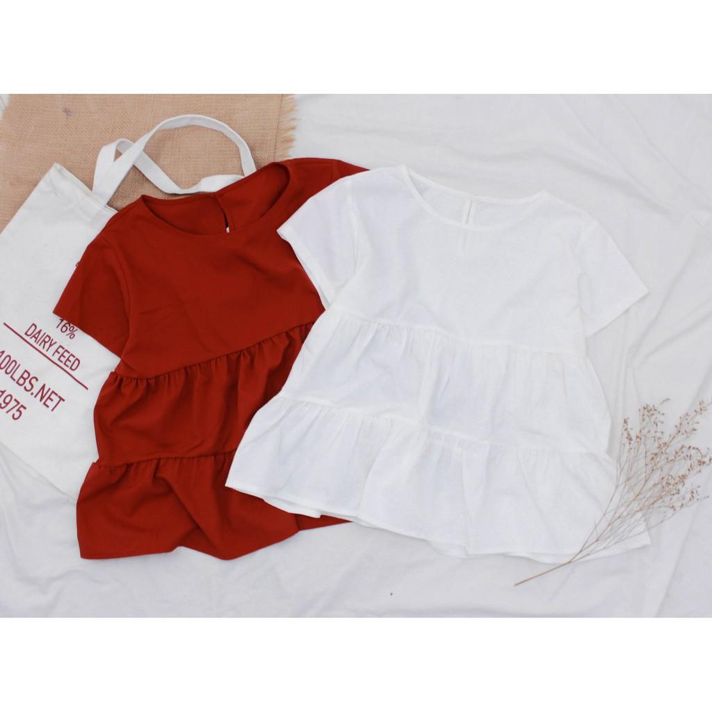 Áo Kiểu Babydoll Vải Lụa Đủ Màu