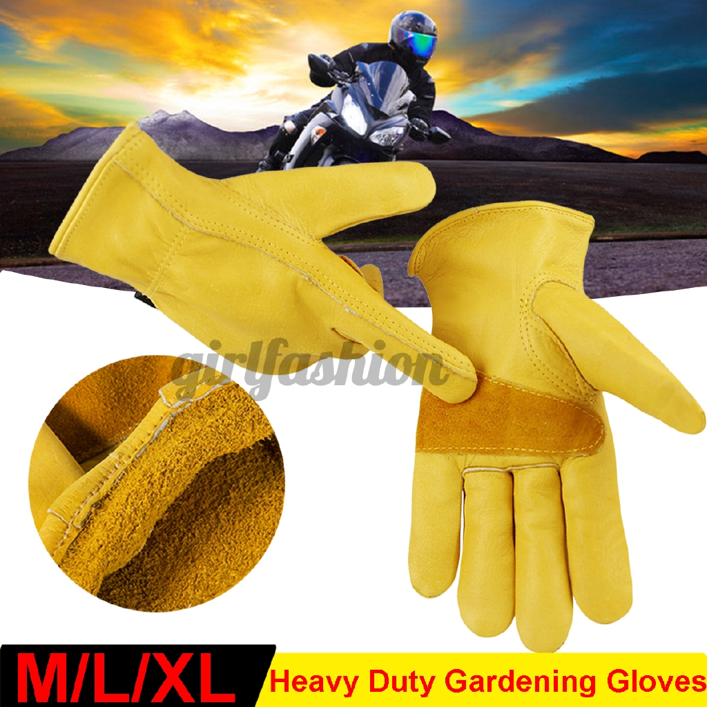 Pair of Heavy Duty Gardening Gloves Men Women Thorn Proof Leather Work Yellow
