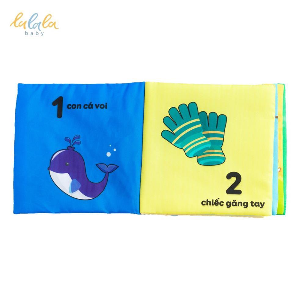 Sách vải kích thích đa giác quan chủ đề Số đếm, kích thước 15x15cm 12 trang