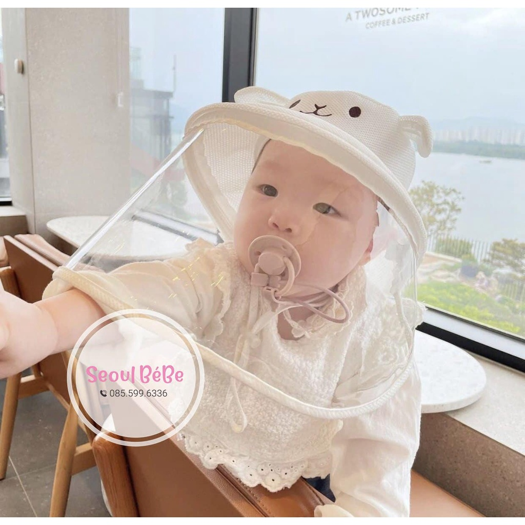 Mũ chống giọt bắn cho bé - nón chắn bụi mũ gấu chống dịch cho trẻ em - dễ thương made in Korea