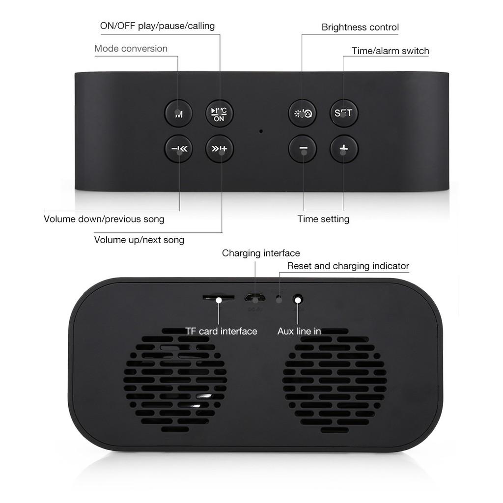 Loa Bluetooth kiêm đồng hồ AEC BT501 mặt gương LED ,bass cực ấm