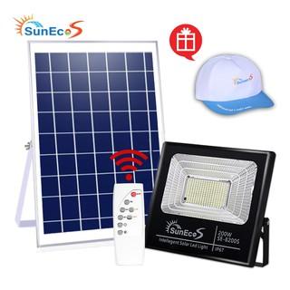 Đèn năng lượng mặt trời 200W Suneco, đèn pha led năng lượng mặt trời, chống nước IP67, Bảo hành 24T, Tặng kèm mũ Suneco