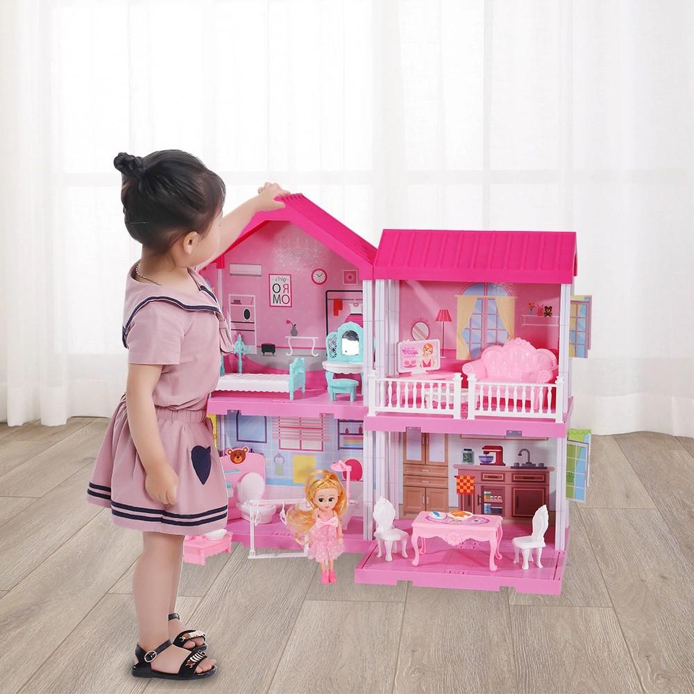 Nhà búp bê cỡ lớn cho bé - Đồ Chơi Lắp Ghép Ngôi Nhà Biệt Thự Búp Bê Xinh Xắn Cho Bé Gái