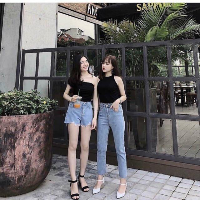 Quần baggy jeans cạp cao