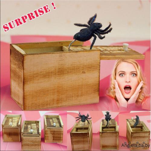 Hộp đồ chơi bất ngờ bằng gỗ hình nhện vui nhộn
