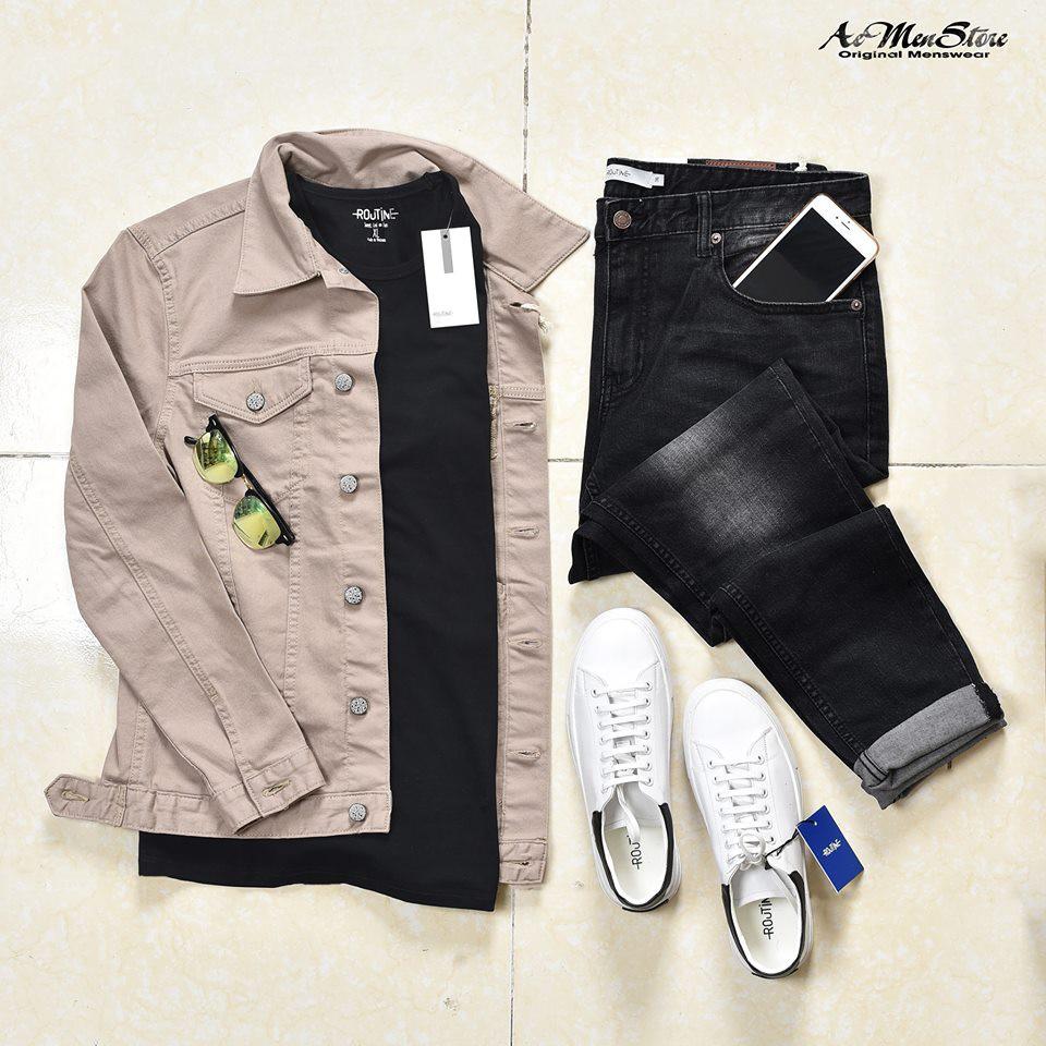 (Free ship 40k) sự kết hợp hài hòa áo denim jacket nam với quần jean nam cùng áo thun giày thể thao