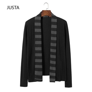 knitwear wholesale sleeve personality cardigan Foreign trade button new long less fashion sweater men's