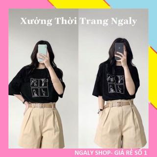 Set đồ nữ cá tính Ulzzang đi chơi mua hè giá rẻ Áo phông tay lỡ quần short SNOOPY SDN01