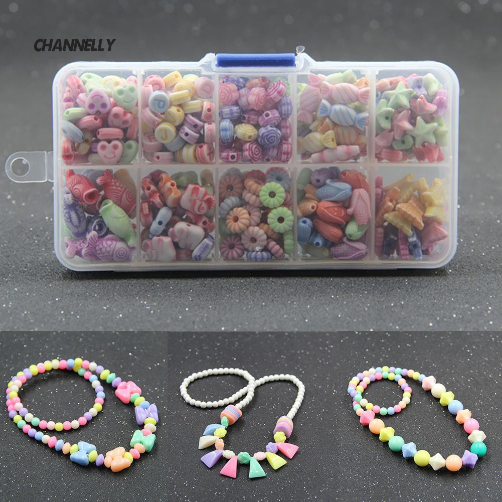 ■Cy Color Acrylic Spacer Beads Elastic String Kid DIY Bracelet Jewelry Toy