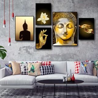 Yêu Thích[HCM] Bộ 5 Tranh canvas giá xưởng - Tranh Treo Tường Phật Giáo Tĩnh Lặng - Tặng kèm đinh đa năng không cần khoan tường