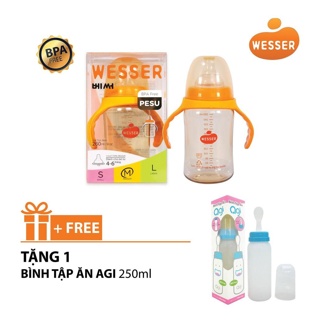 Bình sữa Wesser Pesu cổ rộng nhựa cao cấp 180ml/260ml...