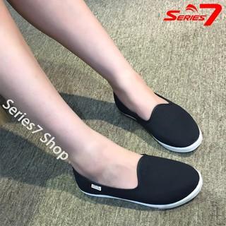 Giày Slip on nữ mũi tròn búp bê siêu êm chân chuyên dụng đi bộ chính hãng, chuẩn xuất khẩu EU màu đen jeans thumbnail