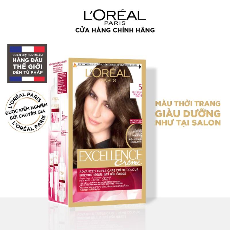 [Mã CPD30K giảm 30K đơn từ 199K] Màu nhuộm dưỡng tóc phủ bạc L'Oreal Paris Excellence Crème 172ml