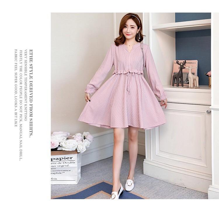 4305420124 - Váy bầu đầm bầu kẻ thu đông HÀn Quốc