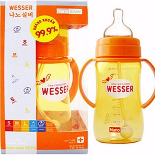 Bình sữa Wesser Nano Silver cổ rộng 260ml có ống hút - ko ống hút