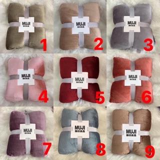Chăn lông cừu Muji ultimate full màu