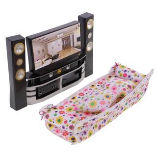 Finevips Kids Cute Dolls House Furnitures Hi-Fi TV Theatre Cabinet Audio Player+Sofa Toy