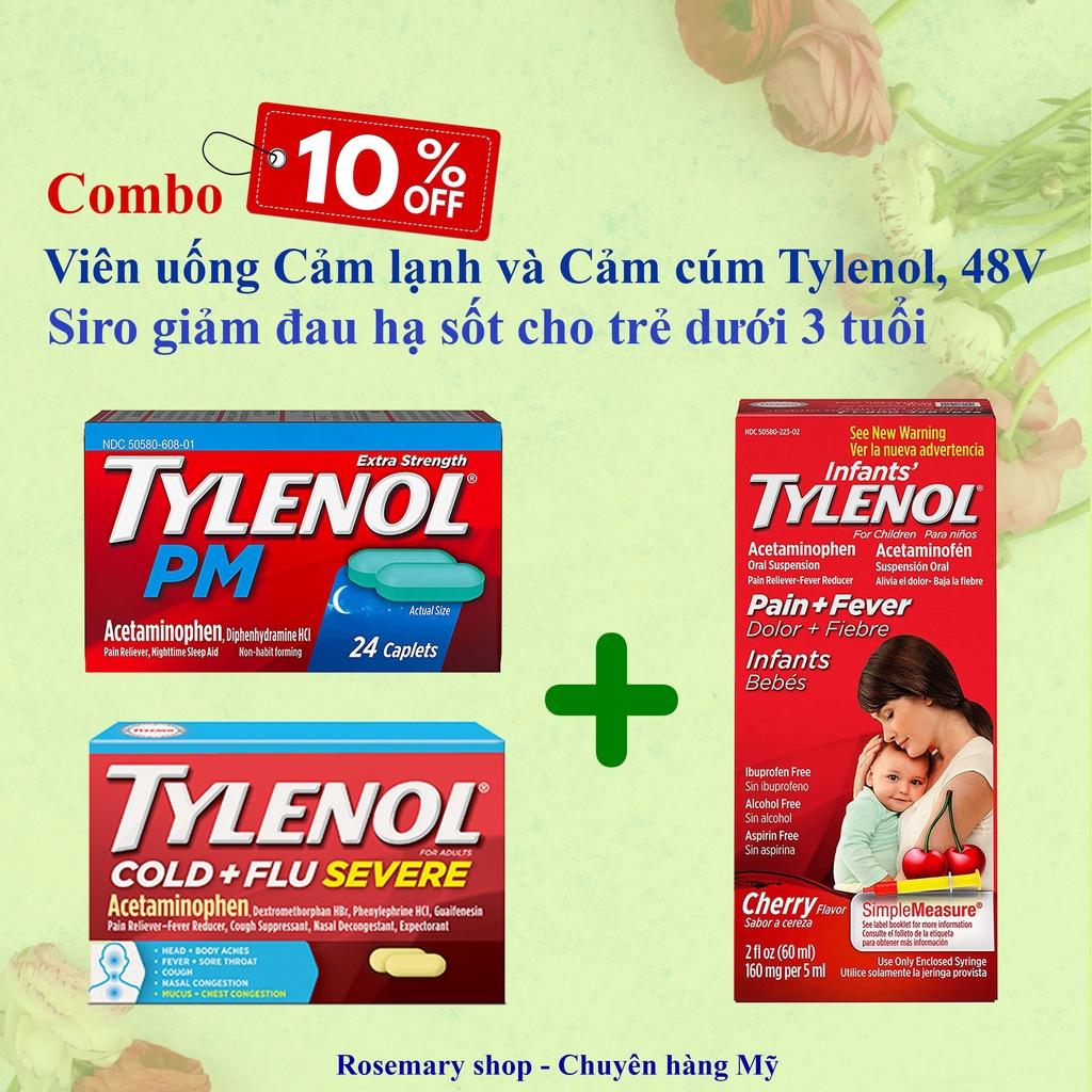 [Combo ưu đãi] Viên uống Tylenol 48 viên và Siro Tylenol cho bé dưới 3 tuổi
