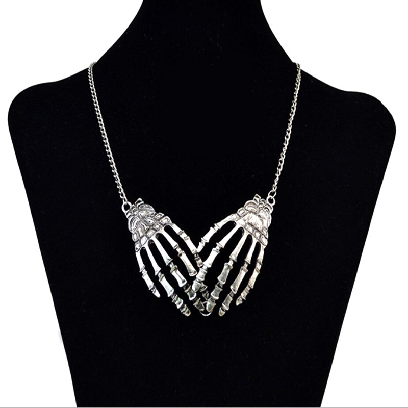 ❤ADegring New Punk Skull Skeleton Hand Claw Pendant Chain Necklace Halloween Jewelry Gift