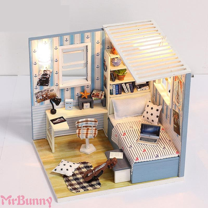 DIY handmade mini wooden doll house doll house model gifts