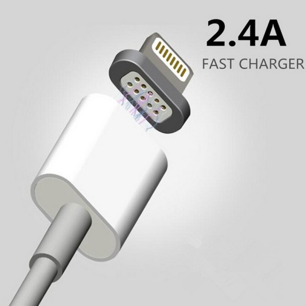 2.4A Magnetic USB Data Cable For Apple iPhone 7 6 6s Plus 5 5s, Mobile Phone Charger Cord, Fast and