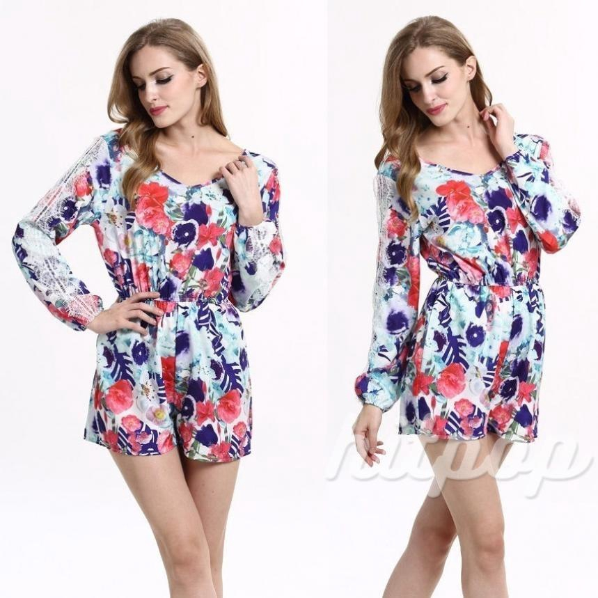 ❤XZQ-Sexy Women Lace Long Sleeve Boho Flora Playsuit Party Jumpsuit Rompers Trousers