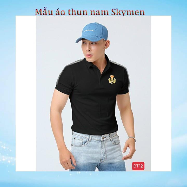 Áo thun nam có cổ tay ngắn mặc hè chất vải THUN COTTON 100%_ SkymenCT12
