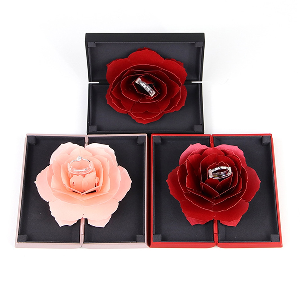 Romantic Proposal Display Flick Open Wedding Engagement Jewelry Storage Gift Ring Box