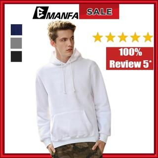 Áo Hoodie Nam Vải Nỉ Cotton Dài Tay Form Rộng Đẹp 1 Màu Trơn Đen Trắng Xanh Xám Đủ Màu Đủ Size M L XL 2XL