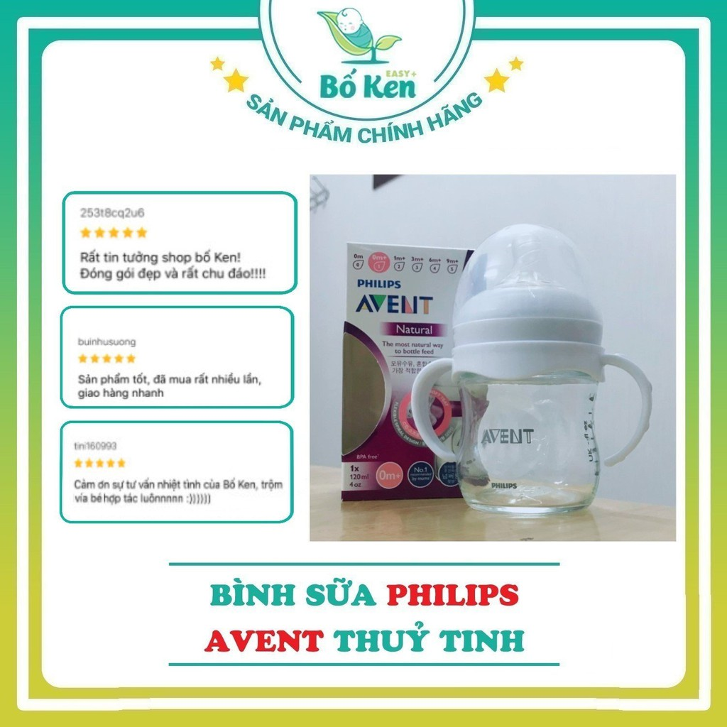 Shop Bố Ken Bình Sữa Philips Avent Natural Thủy Tinh 120/240ML 100% Chính Hãng [Hỗ trợ đổi Size Núm]