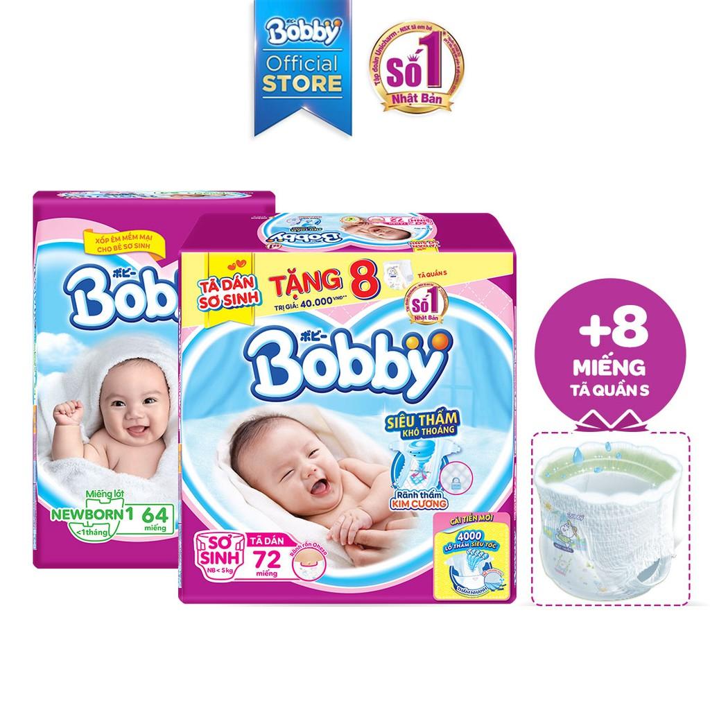 Combo Miếng Lót Sơ Sinh Bobby Newborn 1 (64 Miếng) + Tã Dán Bobby Siêu Thấm XS72