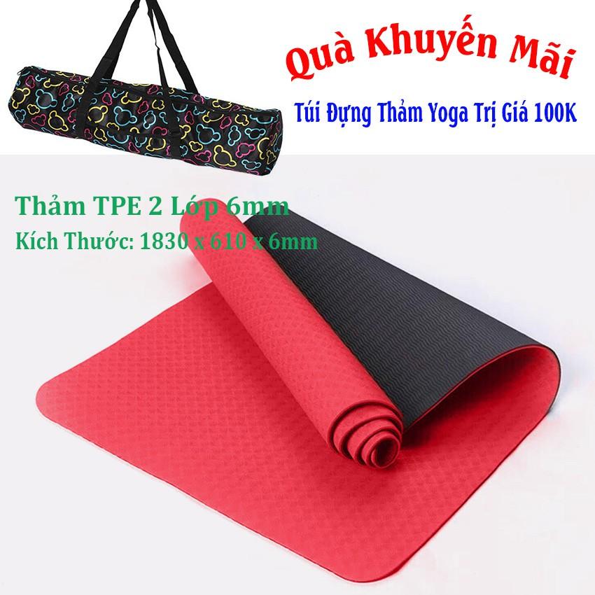 Thảm Yoga 2 Lớp TPE Màu Đỏ (Tặng Kèm Túi + Dây Buộc)
