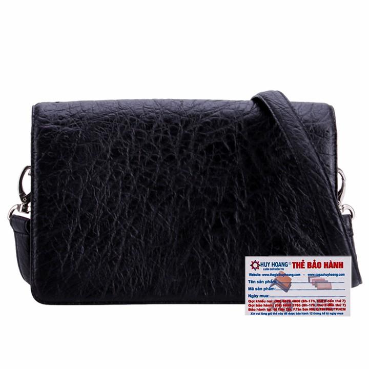 Túi xách da đà điểu cỡ nhỏ màu đen HP6407