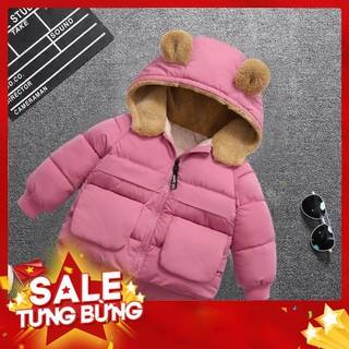 Áo phao mũ lông cừu bé trai bé gái hàng quảng châu loại 1 siêu ấm, siêu nhẹ -Hàng nhập khẩu
