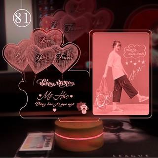 [ Quà tặng ] Đèn led 3D thiết kế theo yêu cầu tặng sinh nhật, 14/2,08/3…, quà cưới, đèn ngủ 16 màu [Mẫu 81]