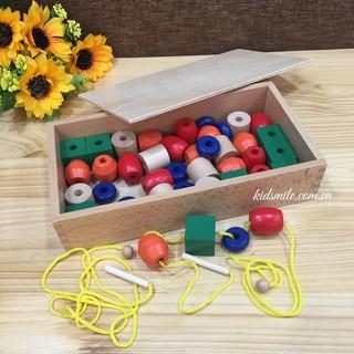 Đồ Chơi Gỗ Bộ Xâu Hạt Montessori – Lacing Beads
