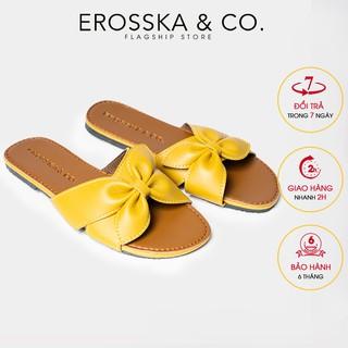 Dép đi biển thời trang Erosska 2021 đính nơ đế bệt màu vàng- DE027