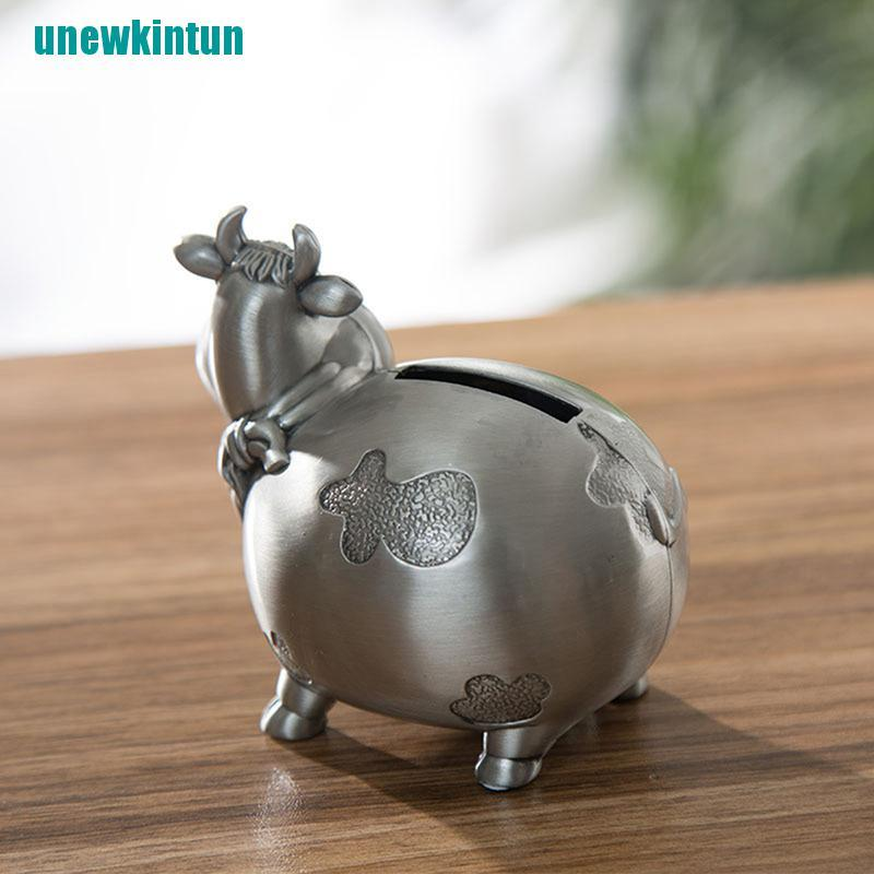 ❤Creative Cow Alloy Tin Metal Piggy Bank Money Box Metal Coin Bank Saving Box