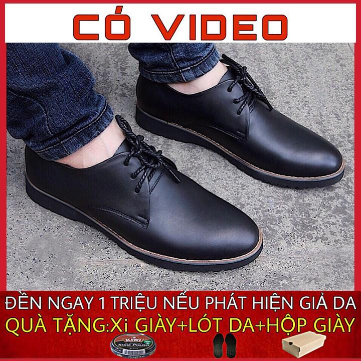 Giày da nam cao cấp da bò mềm mại đế cao su êm chân phong cách trẻ trung GM6899
