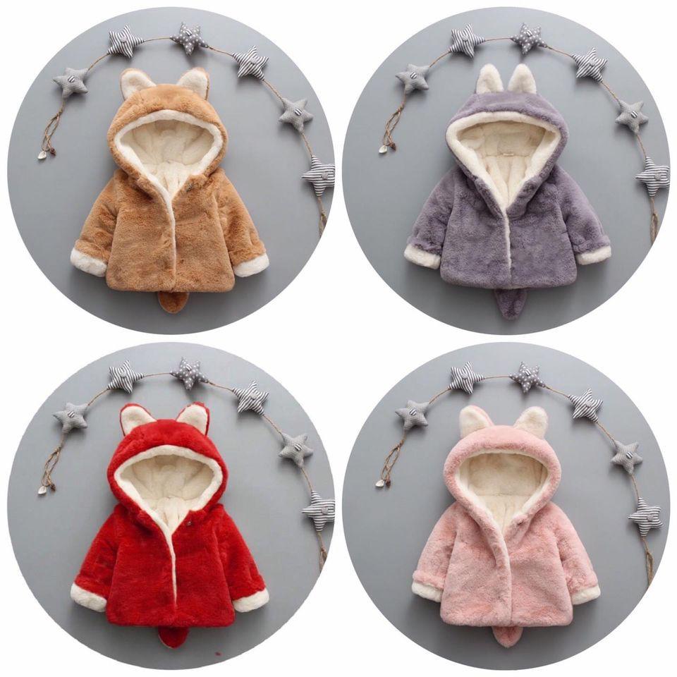 Áo khoác lông chồn dày dặn mềm mịn cho bé trai bé gái