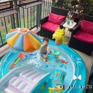 Bể Bơi Phao Có Cầu Trượt, Có Mái Che Cầu Vồng, Có Cá Sấu Chúa Cho Bé Vui Chơi Vận Động Thỏa Thích Hàng Sẵn Giao Ngay