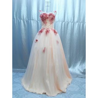 váy cưới màu cà rốt kết hoa, hàng new tồn kho