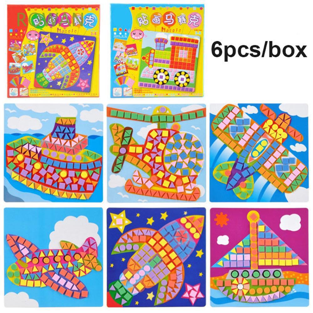 6pcs/box Kids Game Imagination Arts Craft Early Educational DIY Kits 3D Mosaics Puzzle