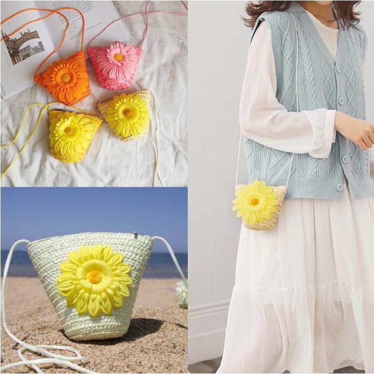 Túi đeo chéo cho nữ họa tiết hoa hướng dương phong cách Boho