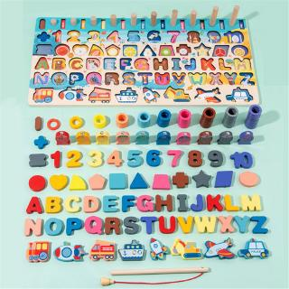 YOUN* Montessori Wood Blocks Puzzle Board Set for Toddler Preschool Kids Learning