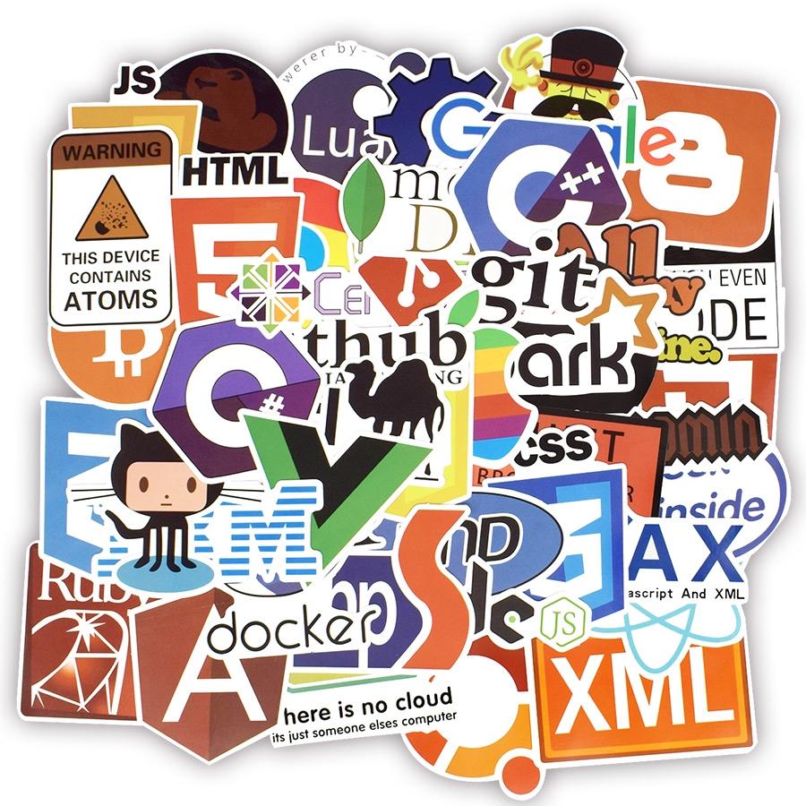 Set 50 sticker phần mềm lập trình dán trang trí độc đáo