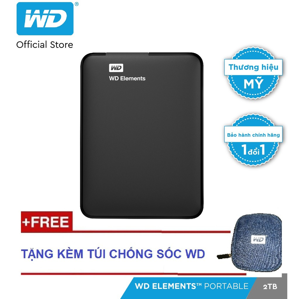 Ổ cứng WD Elements 2TB - 2.5 INCH (Đen) - Hãng phân phối chính thức.