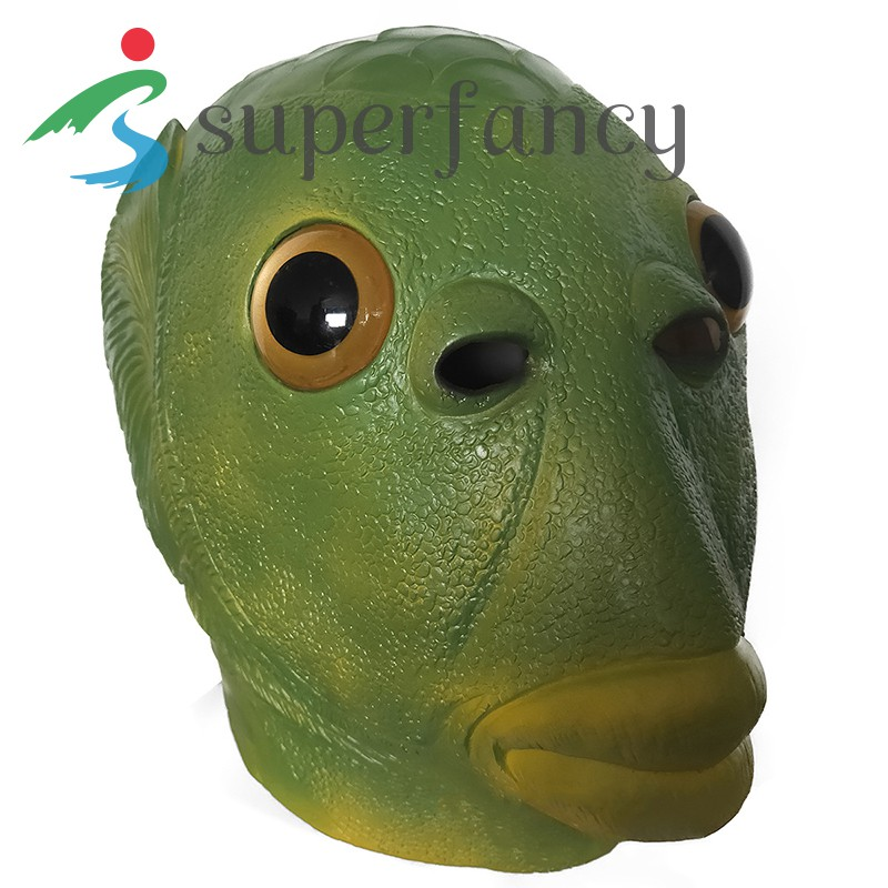 ready stock Creepy Party Halloween Costume Party Latex Headgear Carp Face Cover Horror Green Fish Face Cover